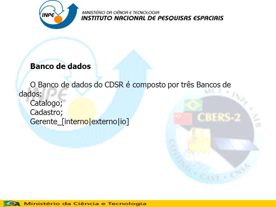 Banco de dados O Banco de dados do CDSR é composto por três Bancos de dados: Catalogo; Cadastro; Gerente_[interno|externo|io]